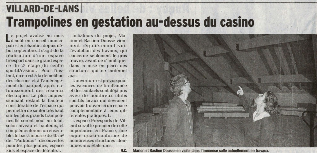Article du Dauphiné Libéré du 21-10-2014